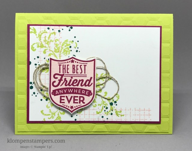 Instructions for using the Stamp-a-ma-jig to get perfectly placed images when stamping. Card made using Badges & Banners from Stampin' Up! and new 2017-2019 In Colors