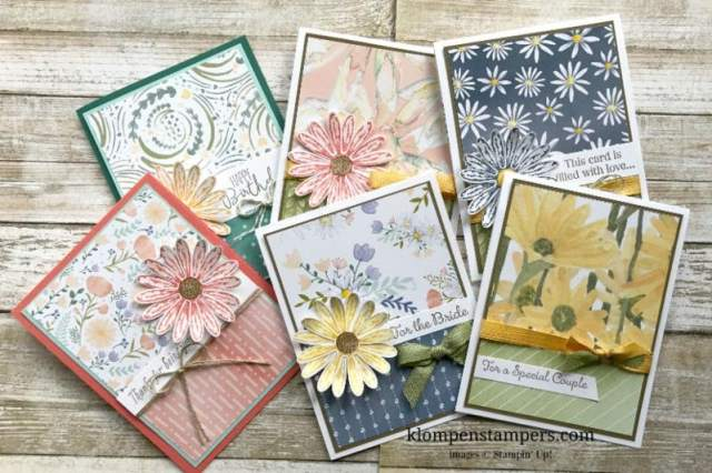 Delightful Daisy DSP from Stampin' Up! Make quick & easy cards when you combine it with the Daisy Delight stamp set and punch.