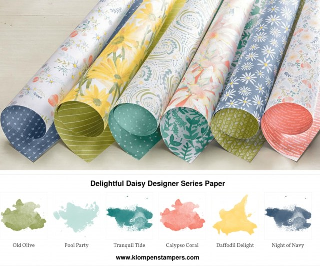 Delightful Daisy Designer Series Paper from Stampin' Up! Projects posted on klompenstampers.com