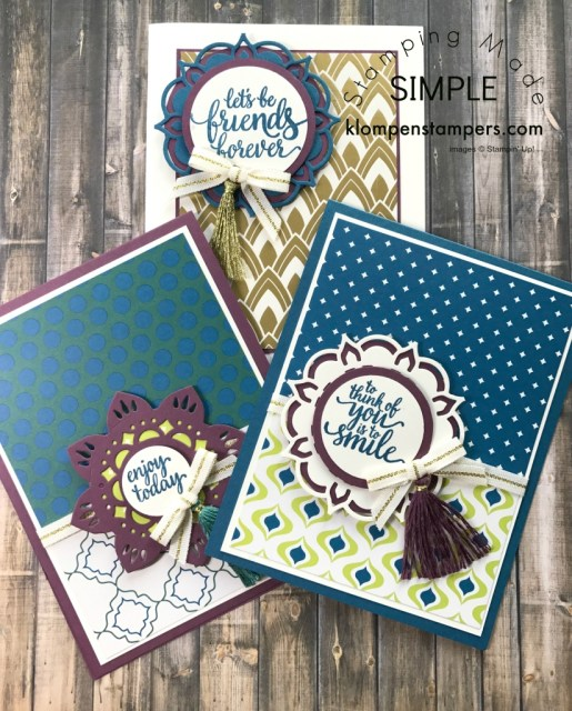 Eastern Beauty stamp set and Eastern Medallions Thinlits make gorgeous cards. Free Tutorial for 25 different cards.