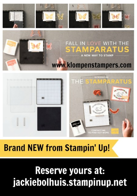 Reserve your Stamparatus with Jackie Bolhuis at Klompenstampers