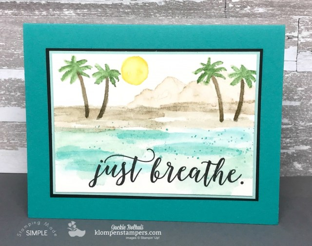 Easy watercolor beach scene using Waterfront stamp set and Aquapainter. Post has all details at klompenstampers.com