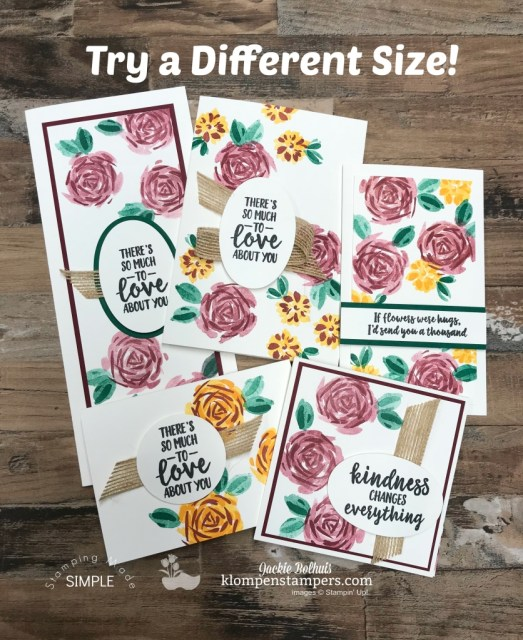 DIY Cardmaking: Size Options and Samples to share-Numerous cards made with one stamp set but different cuts for sizing. Follow me in this step by step video tutorial. Other handmade card ideas on the blog. www.klompenstampers.com #cardmaking #greetingcards #stampinupcards #jackiebolhuis #klompenstampers
