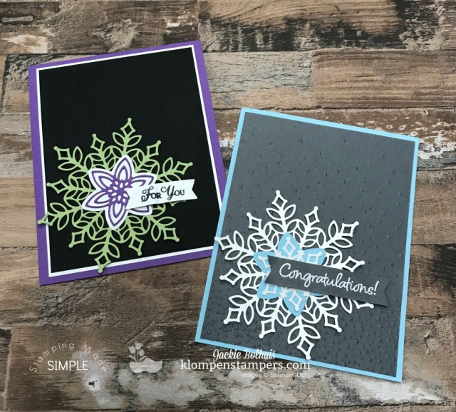DIY: 2 handmade cards video tutorial. Learn how to make these two fabulous greeting cards. If you love handmade card designs that serve multiple uses like congratulations cards, thank you cards, thinking of you cards, Christmas cards, etc. then this is the perfect tutorial for you! #cardmaking #greetingcards #stampinupcards #jackiebolhuis #klompenstampers