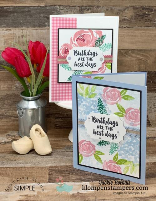 Handmade-Birthday-Cards-with-Florals-Stamped-on-White-Cardstock