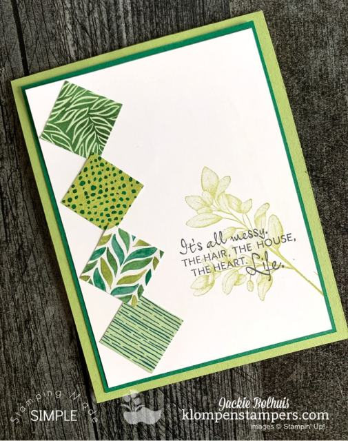 This winning card idea has 4 inch square pieces of designer paper, one stamp and one greeting.