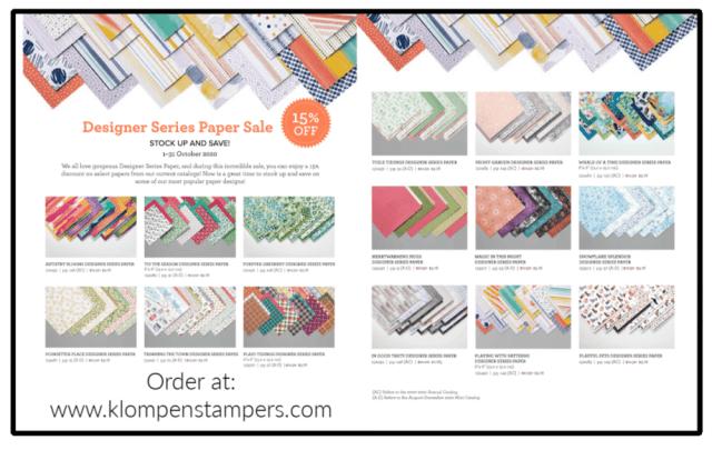 The Stampin' Up! designer series paper sale ends October 31, 2020