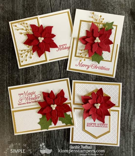 Learn to make elegant Christmas cards with Poinsettia's as the focal point.