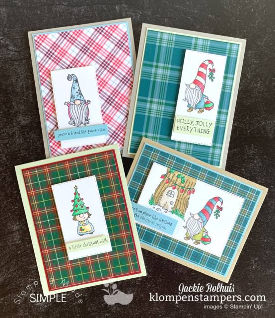 4 DIY Christmas cards made with the Stampin' Up! Gnome for the Holidays stamp set.