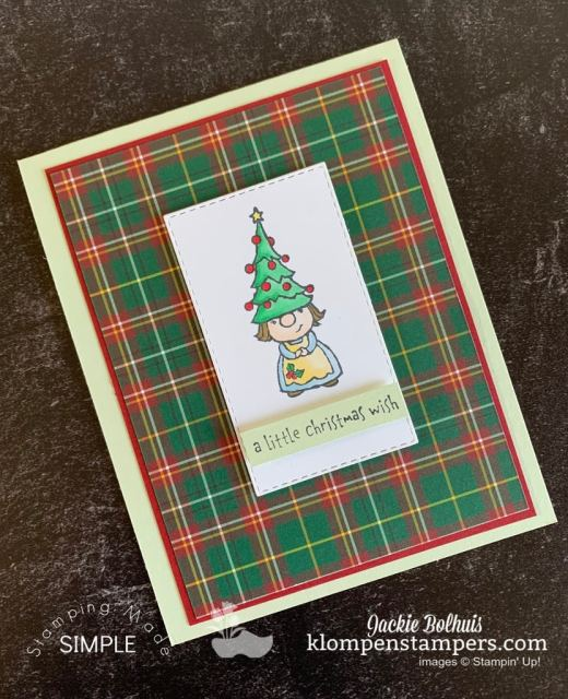 DIY Christmas cards are the perfect way to spread cheer and the green and red plaid designer paper is festive.
