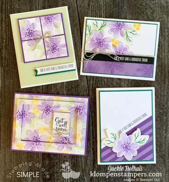 The Gorgeous Posies project kit by Stampin' Up! uses coordinating colors in purples, greens, and yellows.