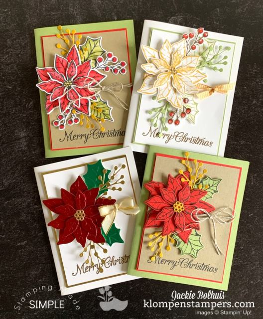 These are the 4 design ideas for Poinsettia cards I have using the Stampin Up Poinsettia Petals bundle.