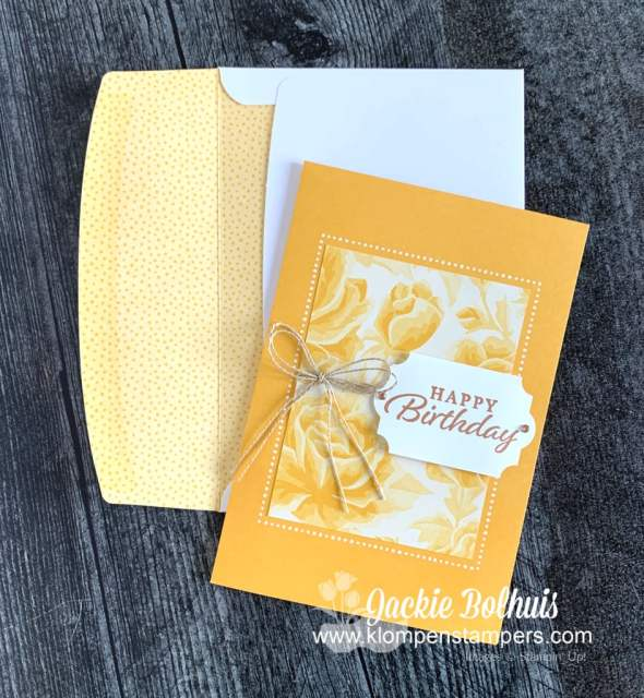 Need quick birthday cards? This yellow floral with a greeting from Happy Thoughts by Stampin' Up! has a matching envelope.