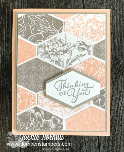 The Stampin' Up! Tailored Tag punch is my favorite paper punch and I used it here with the Peony Garden Designer Series Paper.