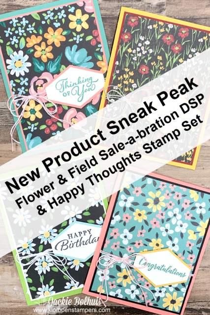 Stampin' Up! Sale-A-Bration: Sneak Peek at 'Flower & Field designer paper goes well with the 'Happy Thoughts stamp set.