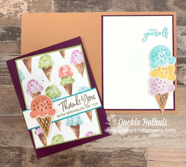 Carry your simple card design to the inside of your card and apply die cut cone and ice cream scoops.