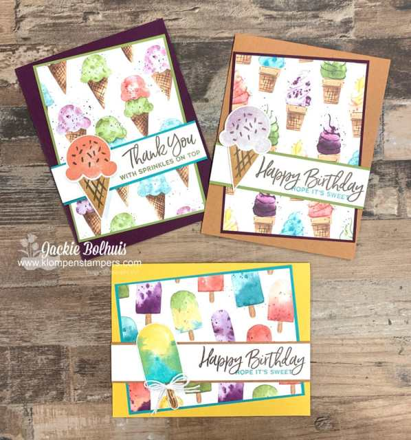 Simple card designs are a breeze with the Stampin' Up! Ice Cream Corner designer series paper.