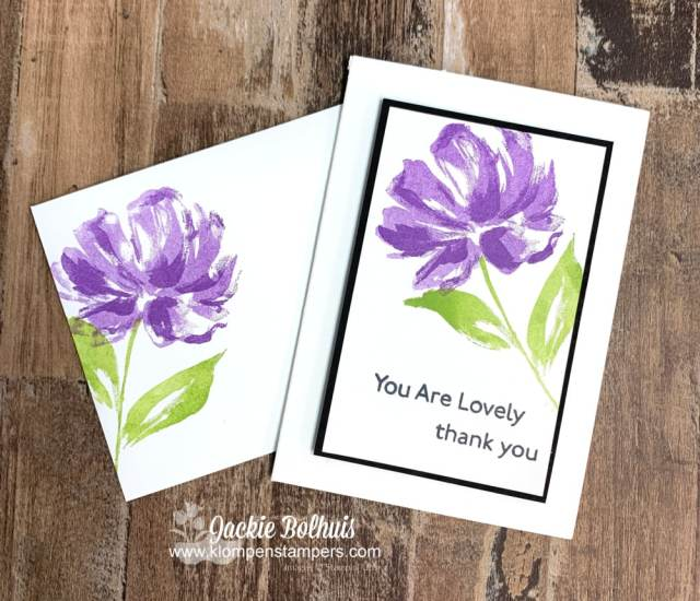 I used the SIP card method to make this handmade thinking of you card purple flower stamped on white cardstock.