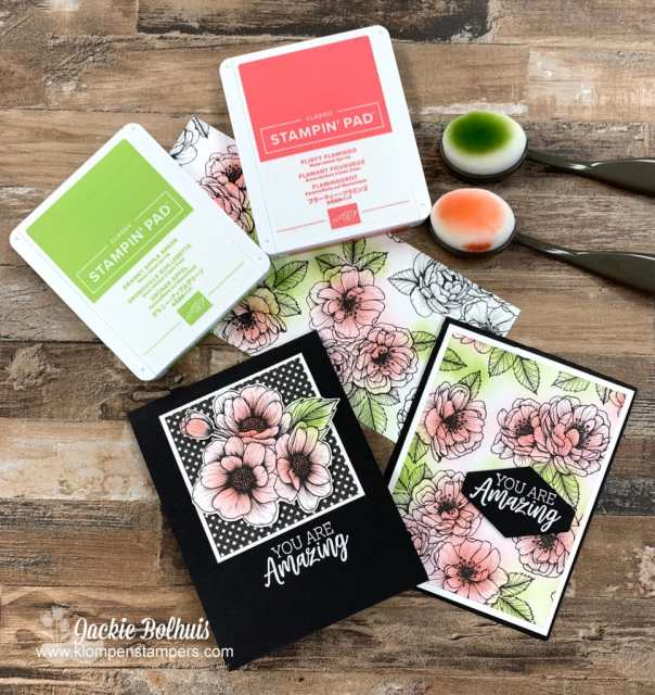 These DIY cards were made with black and white printed designer paper and then use the blending brushes for a splash of color on top