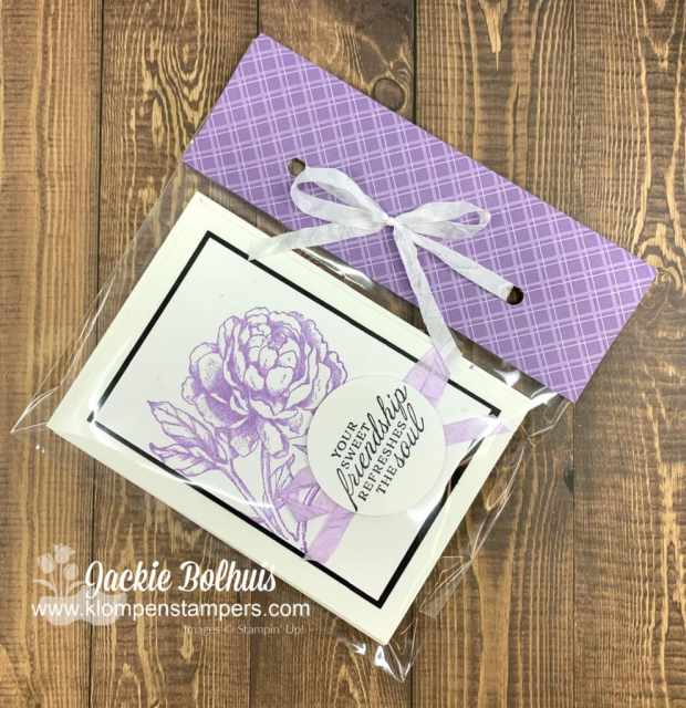 I used coordinating paper and a clear bag to package these handmade cards as a gift set for teachers.