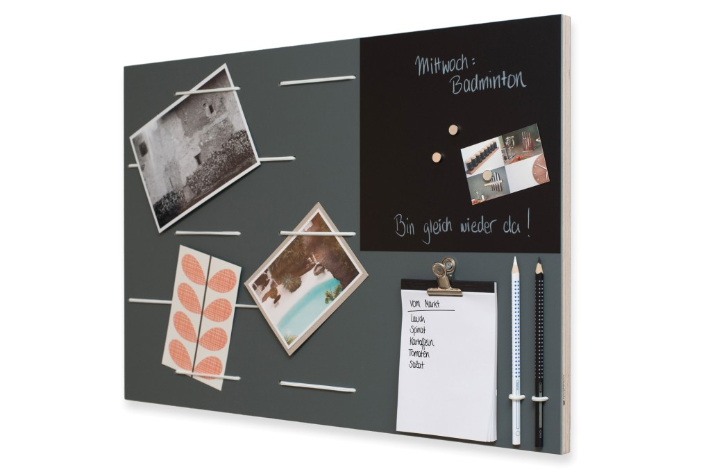Grey Memoboard with Chalkboard Contact Paper
