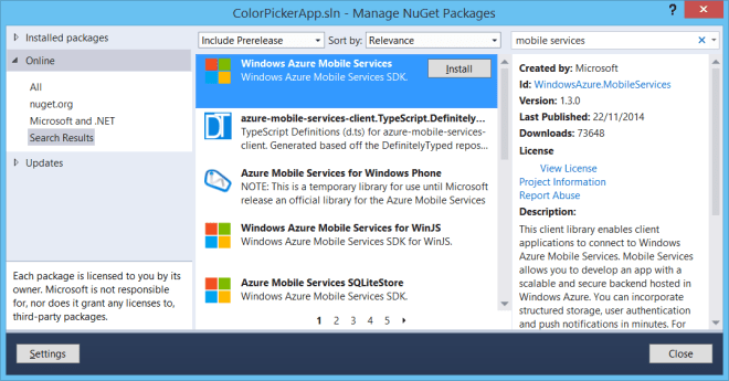 Install Mobile Services NuGet