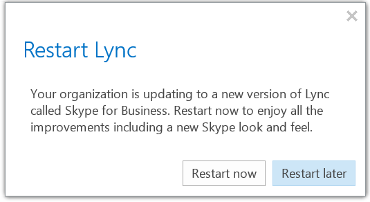 Restart Lync to see new Skype UI