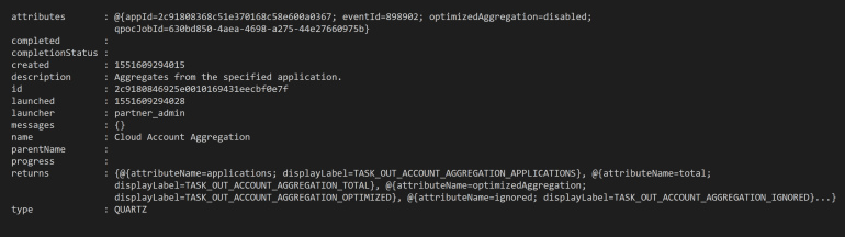 Returned Object when initiating IdentityNow Aggregation via API with optimisation disabled.PNG