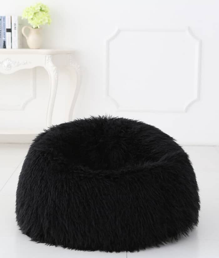 Deluxe Black Faux Fur Bean Bag Extra Large  Kloudsac