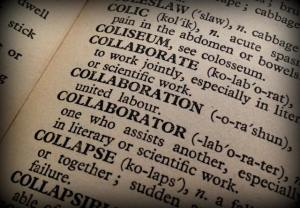page from dictionary, definition of collaboration