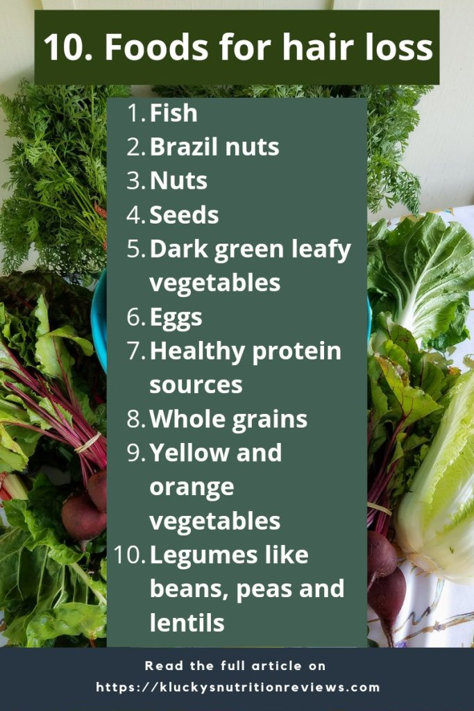 Blog graphic list of the 10 foods for hair loss