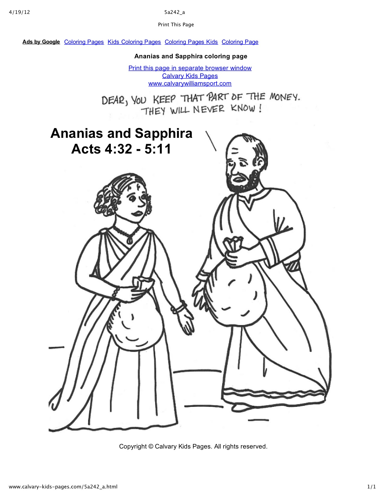 Reading Crazy Bible Stories Together Ananias And Sapphira