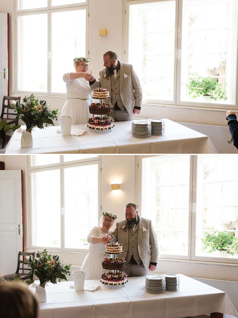 Das Anschneiden der Hochzeitstorte im Cafe Lindauhof Landarztcafe