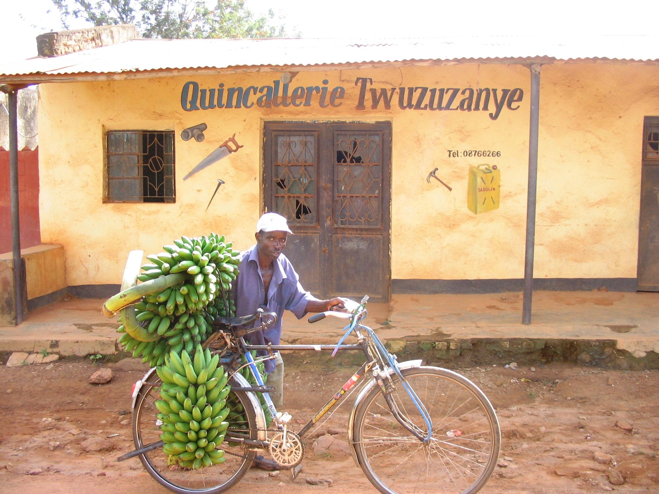 bike, bananas
