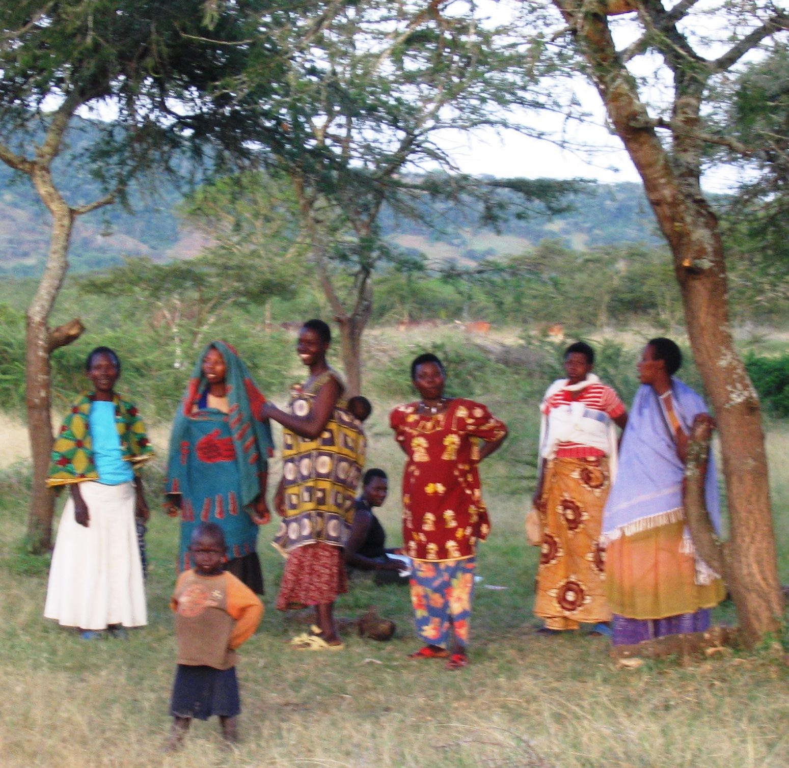 village, distant women