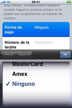 pantalla de opciones de pago