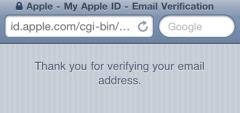thank you verification screen