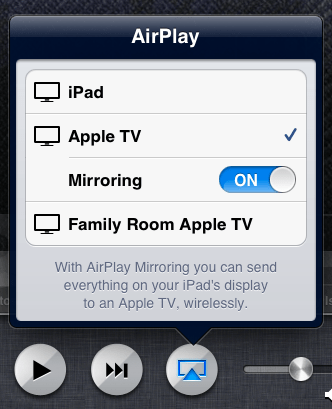 AirPlay menu with Mirroring option ON
