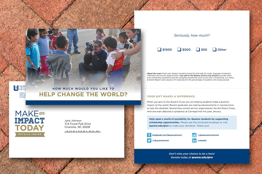 Queens University of Charlotte Fall Direct Mail Appeal
