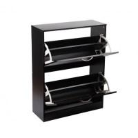 2 Compartments Wood Shoe Storage Cabinet Black