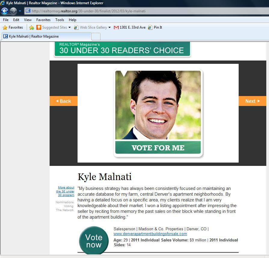 30 Under 30 REALTOR® Magazine Testimonial For Kyle Malnati