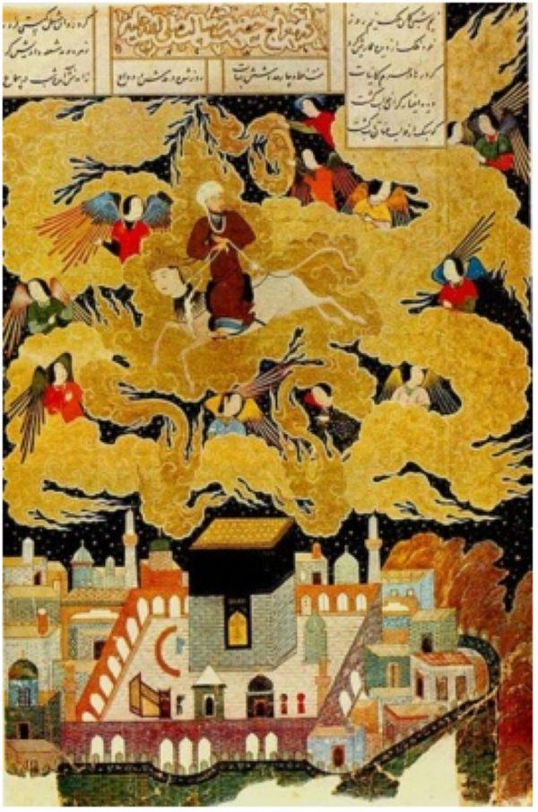 "Абд ал-Раззак. ""Мухаммед пайгамбар Каабанын үстүнөн учуп өтүп баратат"". Низаминин ""Хамса"" дастанына иллюстрация (1494-1495). Британия музейи, Лондон."