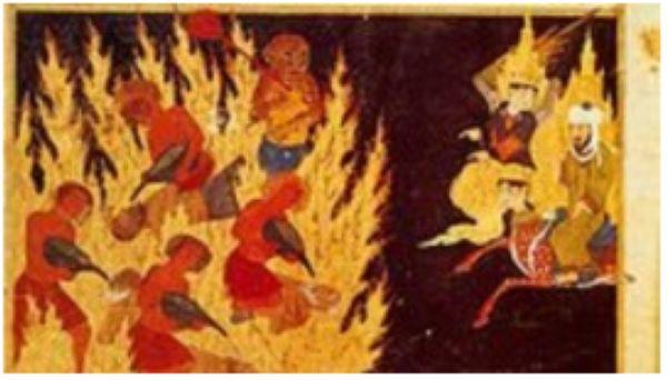 """""""Мухаммед пайгамбар тозокту барып көрүүдө"""". """"Миражнаме"""". Герат, 1436. Улуттук китепкана, Париж."""