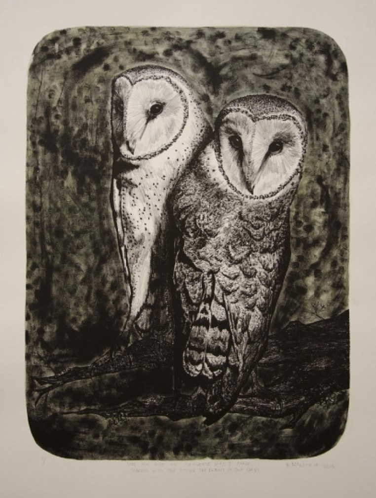 """Side by Side - 22x30"""" lithograph with hand coloring"""
