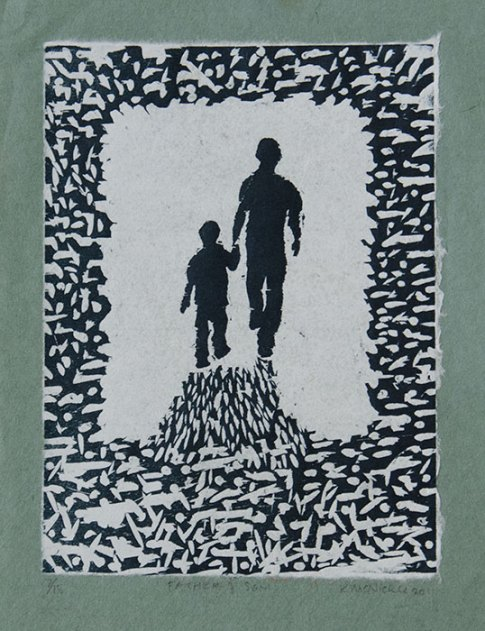 Father & Son - Relief with chiné collé, 2012