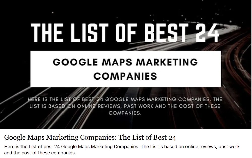 Google Maps Marketing Companies: The List of Best 24