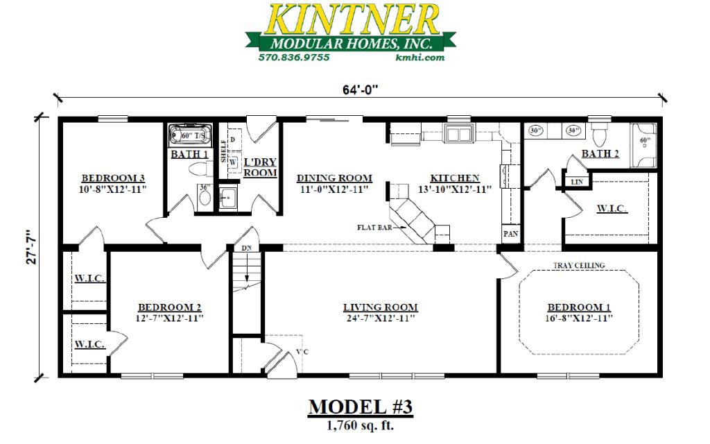 Ranch Modular Home, Model #4 Floor Plan