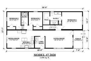 Shoot Gun Style Ranch Modular Home, Model #7