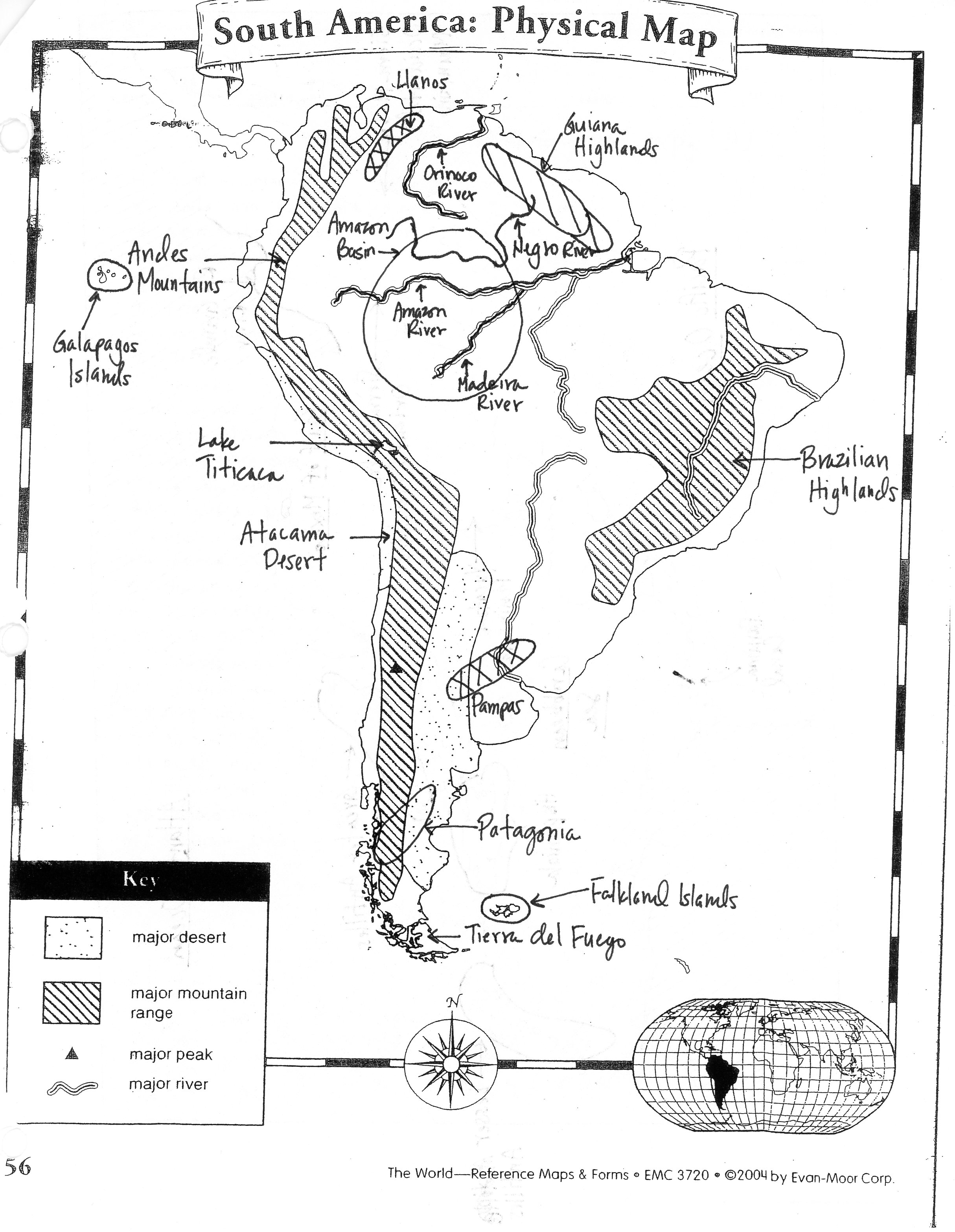 Latin America Physical Maps