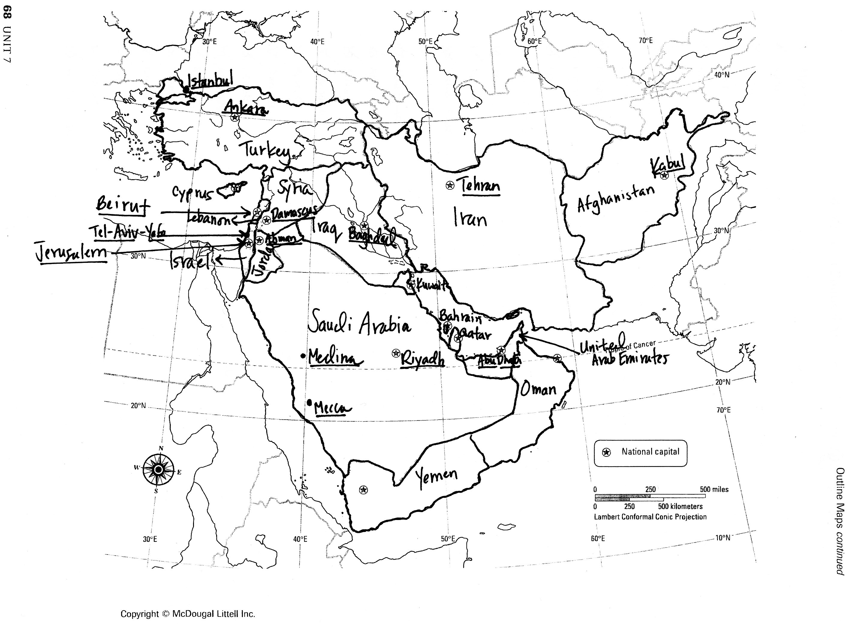 Southwest Asia Political Map Quiz Study Guide
